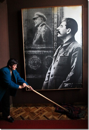 Cleaning up before the working hours at the Stalin's museum in Gori