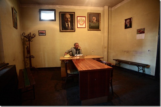 Zhiuli Sikmashvili of the Communism Party of Georgia in his office.