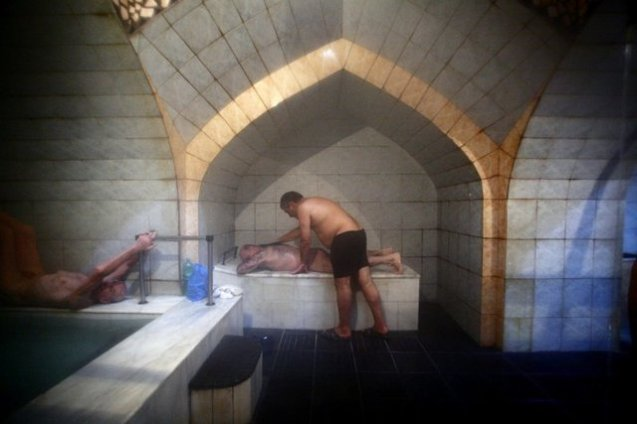 Roman Glonti, 42, a bathhouse attendant in Tbilisi baths.